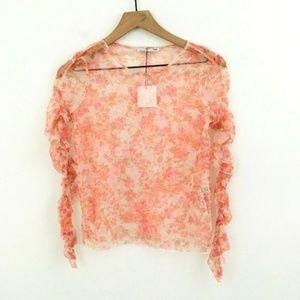 NWT! Zara Floral Print Ruched Sheer Mesh Shirt S